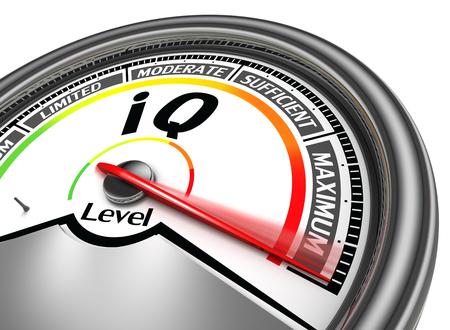 iq conceptual meter indicate maximum, isolated on white background Stockfoto
