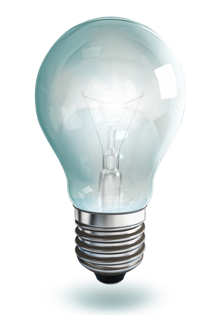 electrical energy: light bulb on white background, clipping path included