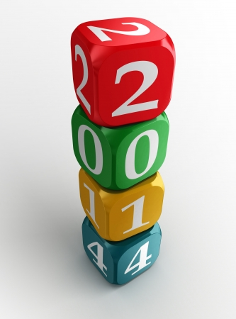 new year 2014 colorful dice tower on white background. clipping path included photo