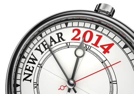 new year 2014 concept clock isolated on white background photo