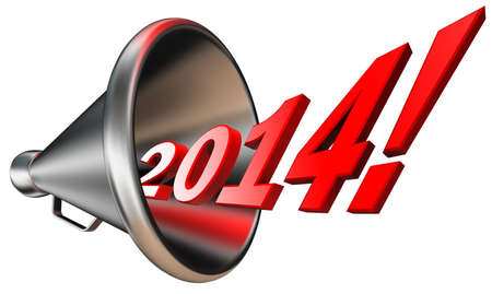 new year 2014 in megaphone isolated on white background. clipping path included photo