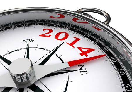 白い背景の概念のコンパスによって示される新しい 2014 年