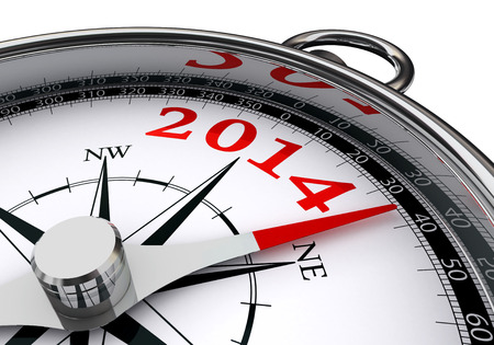 new year 2014 indicated by conceptual compass on white background