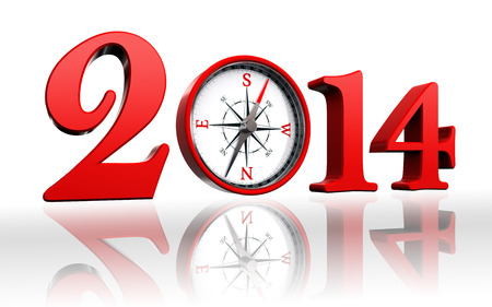 new year 2014 with compass on white background photo