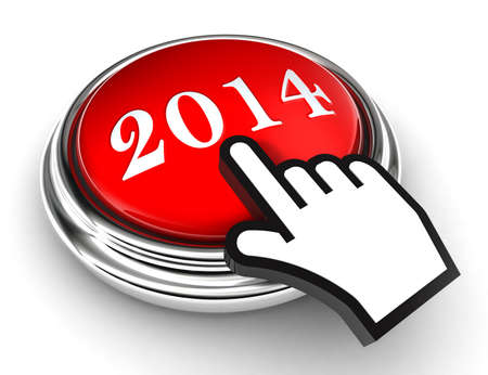 new year red button and cursor hand on white background photo