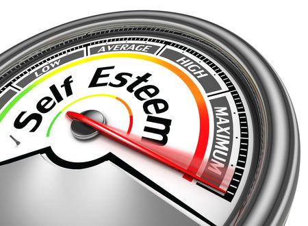 self esteem conceptual meter indicate maximum, isolated on white background