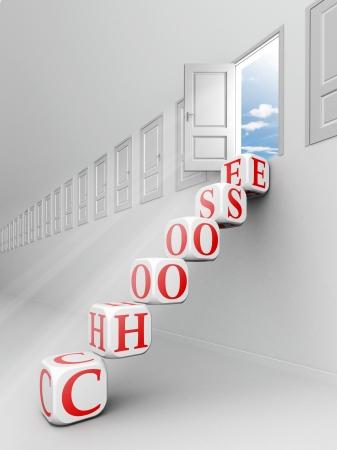 right ideas: choose red word blocks up to open door towards sky Stock Photo