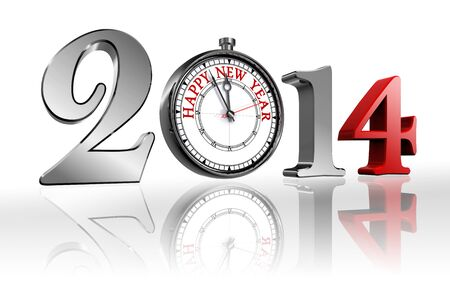 happy new year 2014 clock metal and red. clipping path included Stock Photo - 23915644