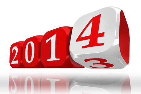 new year 2014 dice block turn from three to four. clipping path included photo