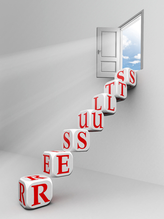 results block ladder to open door with sky background photo