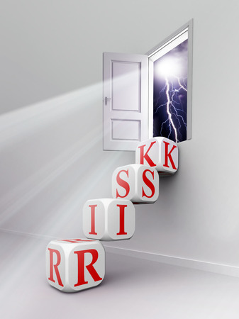 risk red word blocks stair in room up to open door  photo