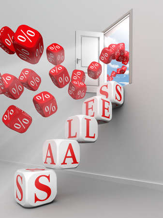 Sales Red Word Steps Up To Open Door And Per Cent Symbols Stock
