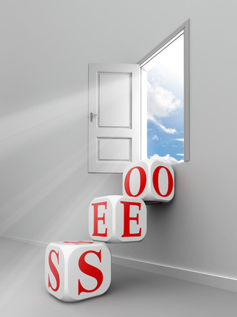 seo red word blocks to open door out of room towards sky photo