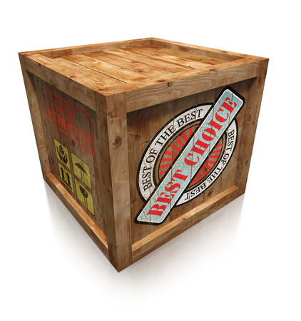 best choice on wooden box crate on white background