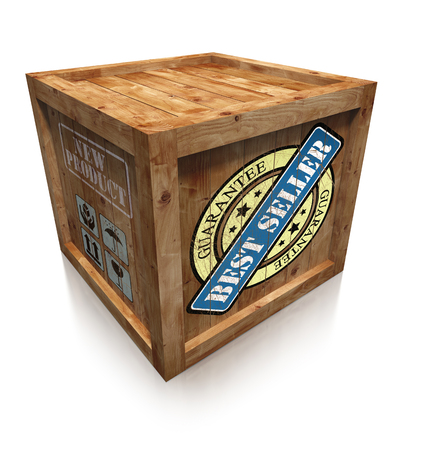 best seller grunge sign on wooden box crate photo