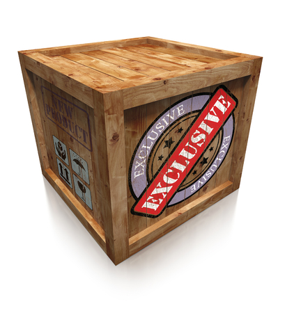 exclusive grunge sign on wooden box crate photo