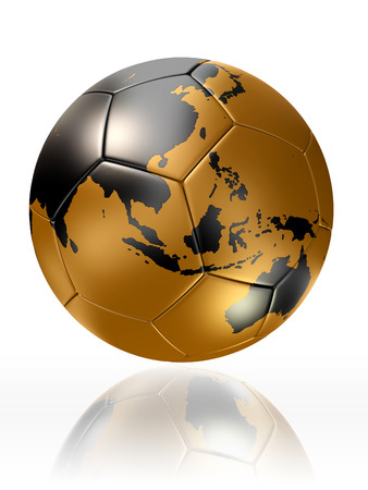 gold soccer ball with globe world map of australia and asia photo
