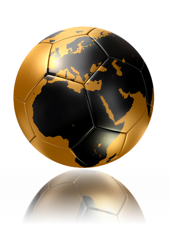 gold soccer ball with globe world map of europe and africa photo