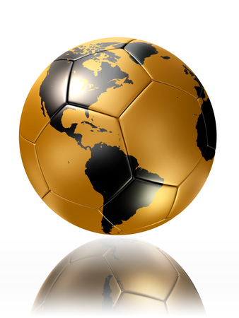 gold soccer ball with world map of america photo