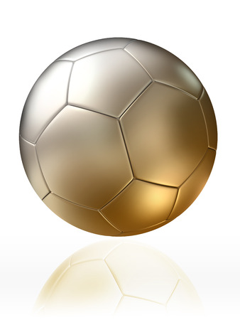 world cup: golden silver soccer ball on white background