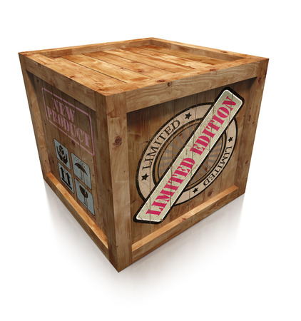 edition: limited edition sign on wooden box crate Stock Photo