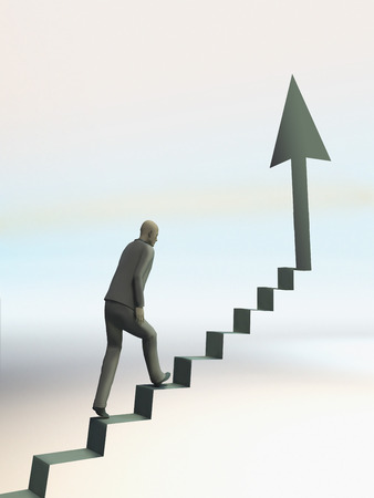 man climb up stair towards arrow pointing to the top photo