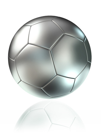 silver soccer ball on white background photo