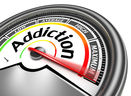 indicate: addiction conceptual meter indicate maximum, isolated on white background