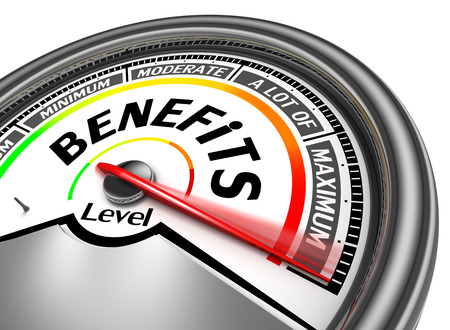 benefits: benefits conceptual meter indicate maximum, isolated on white background