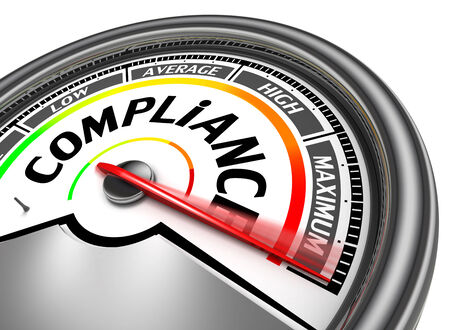 compliance conceptual meter indicate maximum, isolated on white background