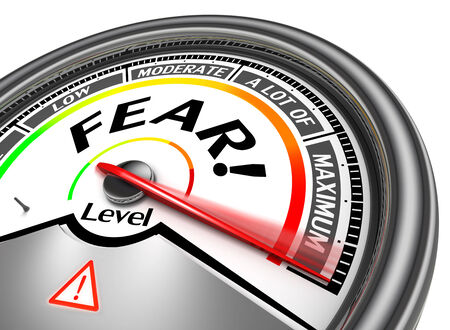 indicate: fear conceptual meter indicate maximum, isolated on white background