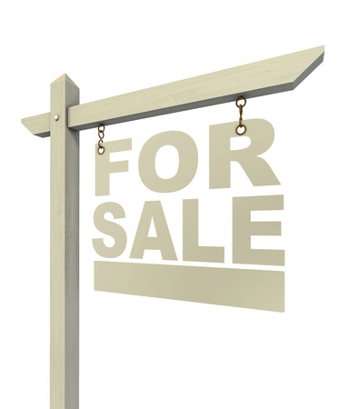 for rent: for sale real estate sign letters isolated on white background Stock Photo