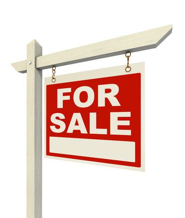 property for sale: for sale real estate sign isolated on white background