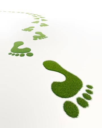 白い背景の草緑の足跡
