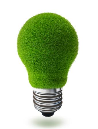 白い背景の上の緑の草電球概念の生態画像 写真素材