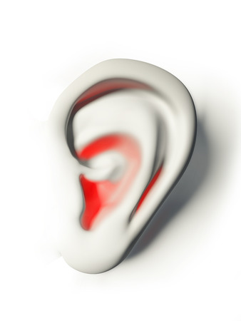 human ear white and red in pain