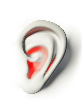 dolor de oido: o�do humano blanco y rojo en el dolor Foto de archivo