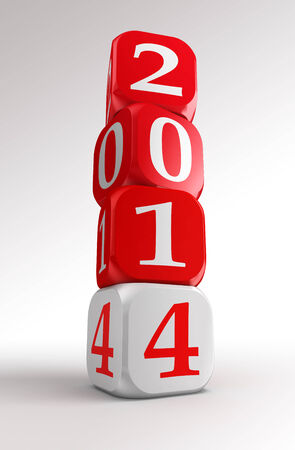 new year 2014 3d red and white box tower on white background photo