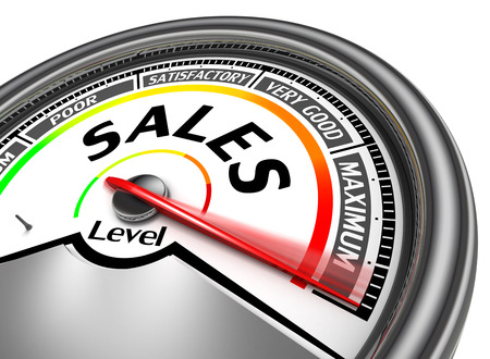 rating meter: sales conceptual meter indicate maximum, isolated on white background