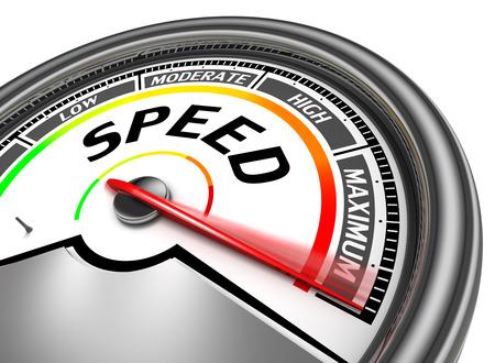 wort: Geschwindigkeitsmesser zeigen konzeptionelle Maximum, isoliert auf weißem Hintergrund