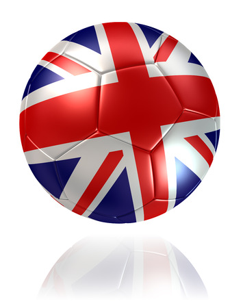 white bacground: United Kingdom flag soccer ball on white bacground. clipping path included Stock Photo