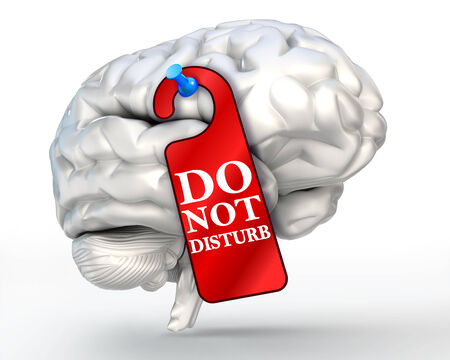 concentrate: concentrate concept do not disturb red sign on human brain. clipping path included