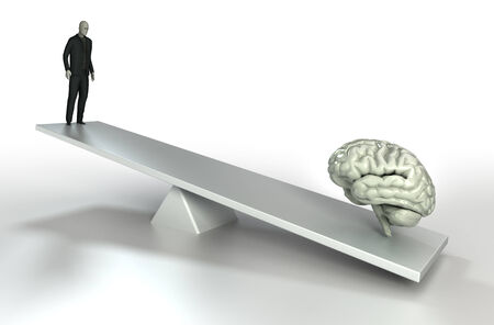 mind power: human brain and man balance conceptual image for mind power Stock Photo