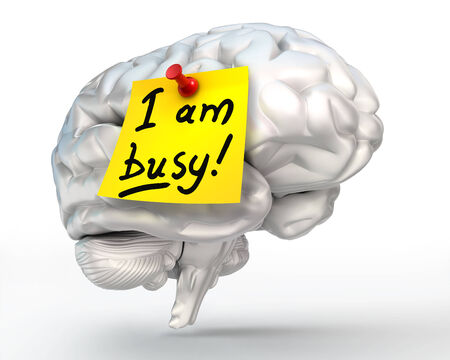 brain work: i am busy yellow note paper on brain, thinking concept, clipping path included