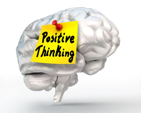 positive thinking note paper on brain conceptual image, clipping path included photo