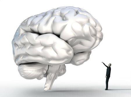 small man conncting with big brain conceptual image photo