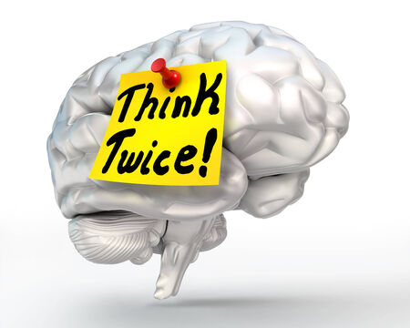 react: think twice yellow note paper on brain, thinking concept, clipping path included