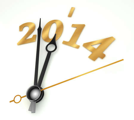 new year 2014 gold clock on whte background photo
