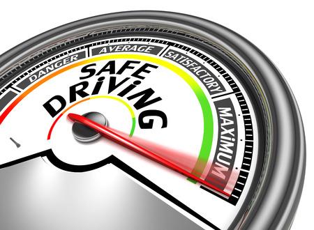 安全な運転の概念メーターを示す最大、白い背景で隔離 写真素材