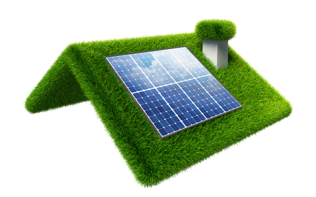 solar panel on grasss roof isolated on white. clipping path included photo